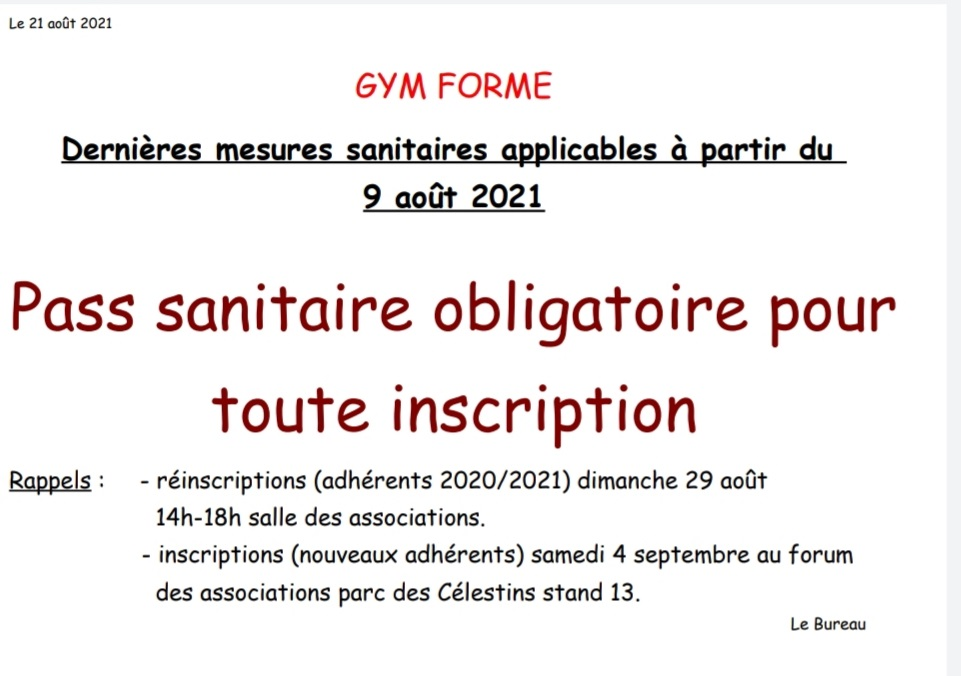 pass sanitaire gym forme as marcoussis